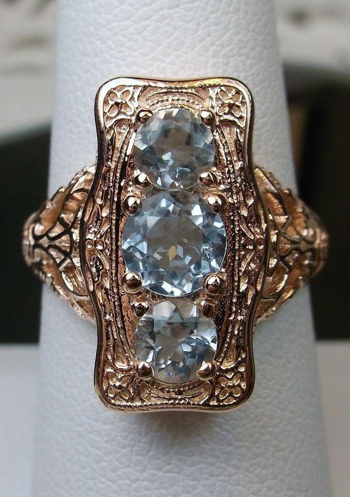 Sky Blue Topaz Solid 10k Rose Gold Edwardian Deco Filigree Ring Made To Order Silverembracereproductio Antique Filigree Jewelry Sky Blue Topaz Filigree Ring
