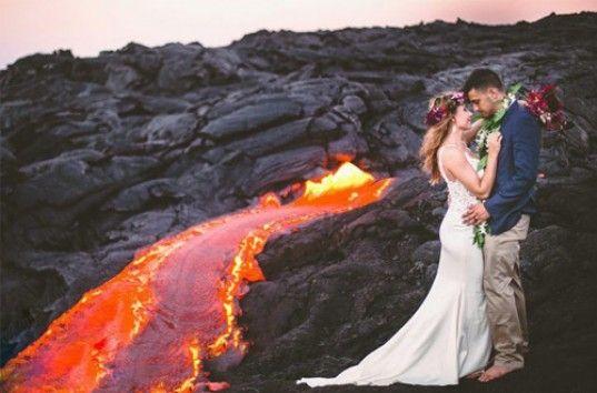 Гавайская свадебная фотосессия возле вулкана шокировала Сеть (ФОТО)
