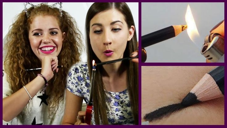 DIY SMUDGE EYELINER using a flame - Maybaby and Mahogany Lox try their best to create a smokey smudged eyeliner using a lighter and a cheap kohl pencil! #diy #makeup #beauty #hack