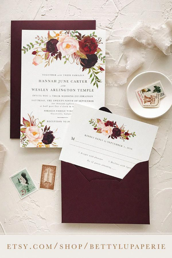 fall wedding invitations, rustic, burgundy, wedding invitations, wedding invitat…