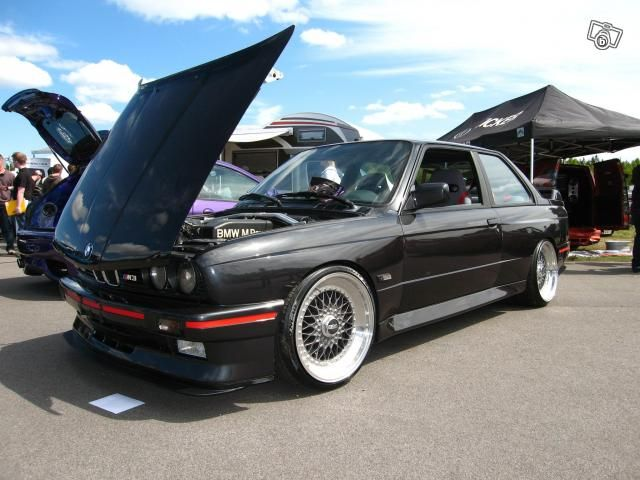 BMW e30 M3 BBS RS Evo III red trim and smoked Hella Euro Ellips