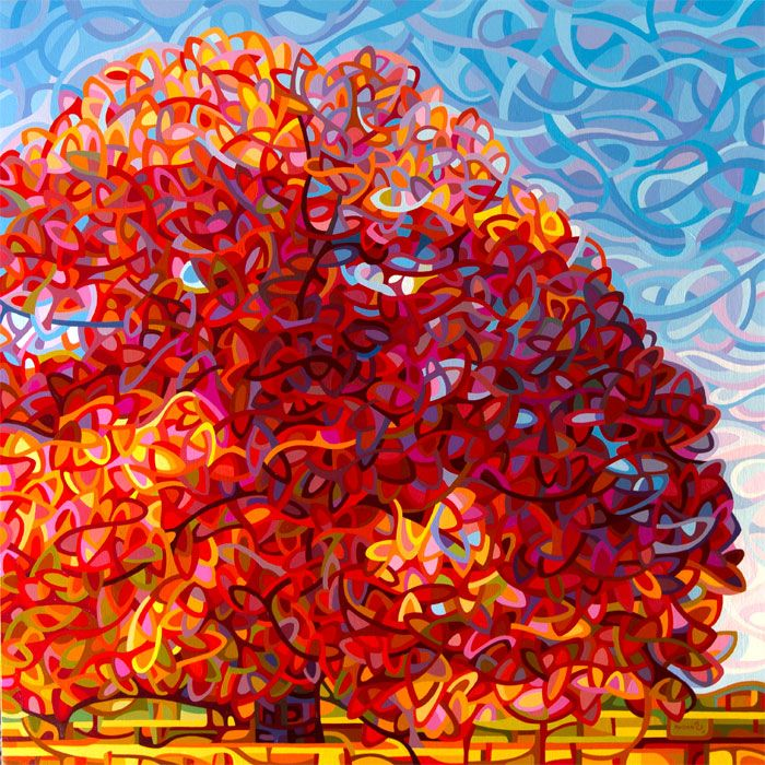 "art painting tree landscape abstract fall autumn maple red  by Mandy Budan...GREAT not your ""usual"" abstract artist"