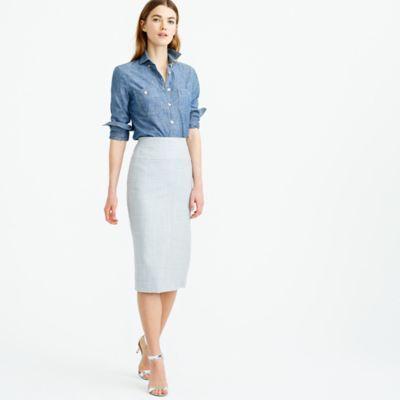 """A long, lean pencil skirt with a flattering wide yoke and textural topstitching, constructed in our four-season Super 120s merino wool. What makes it so super is the measure of the fiber: the higher the number, the finer the fiber, and 120 is one of the finest with a silky-smooth finish and a refined drape. <ul><li>Sits at waist.</li><li>27"""" long.</li><li>Falls to knee.</li><li>Wool.</li><li>Back zip.</li><li>Back vent.</li><li>Lined.</li><li>Dry clean.</li><li>Import.</li></ul>"""