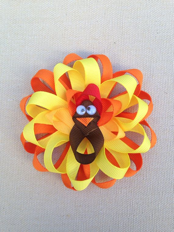 Thanksgiving Hair Bow, My first thanksgiving bow, Yellow hair bow, Turkey Hair bow, Thanksgiving hair clip, Turkey hair clip