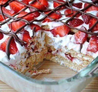 No Bake Strawberry Icebox Cake | Food | Pinterest