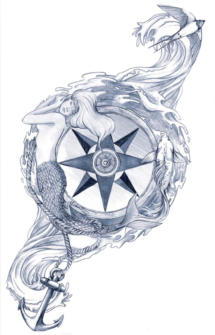 Compass rose with mermaid