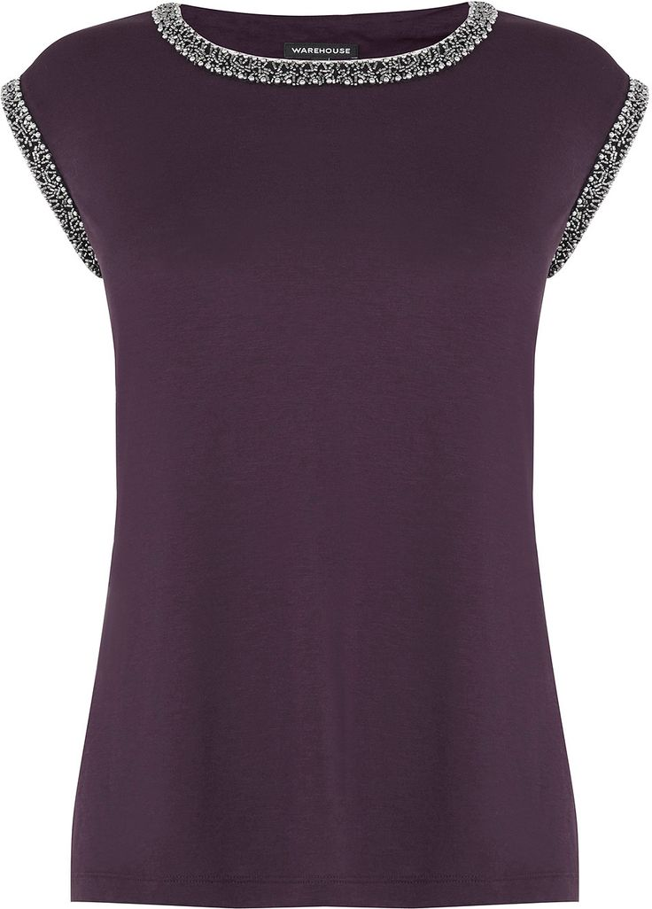 Womens aubergine embellished trim top from Warehouse - £40 at ClothingByColour.com