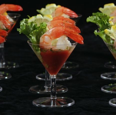unique food display - shrimp in cocktail sauce