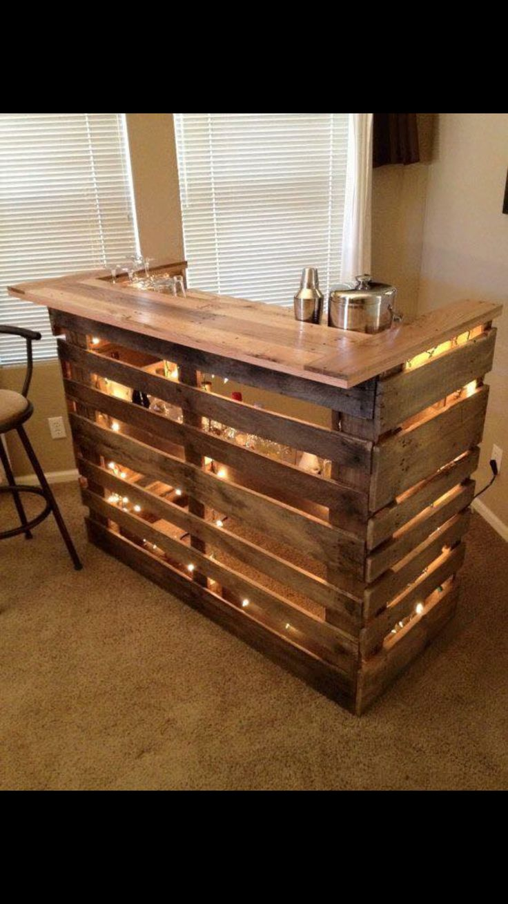 Beverage bar made with pallets