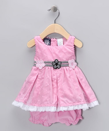 Take a look at this Pink Pleated Dress & Bloomers - Infant by So La Vita on #zulily today!