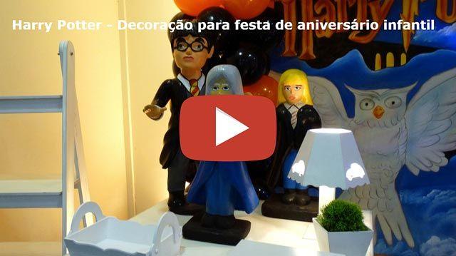 Vídeo da decoração provençal simples com o tema Harry Potter para festa de aniversário infantil