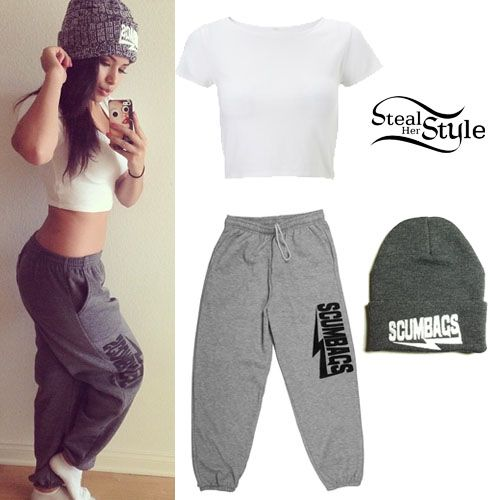 Jasmine Villegas wearing a pair of The Scumbags Heather Gray Sweats ($25.00), a The Scumbags Heather Charcol Beanie (sold out) and a top similar to this one from Lipsy (£12.00).