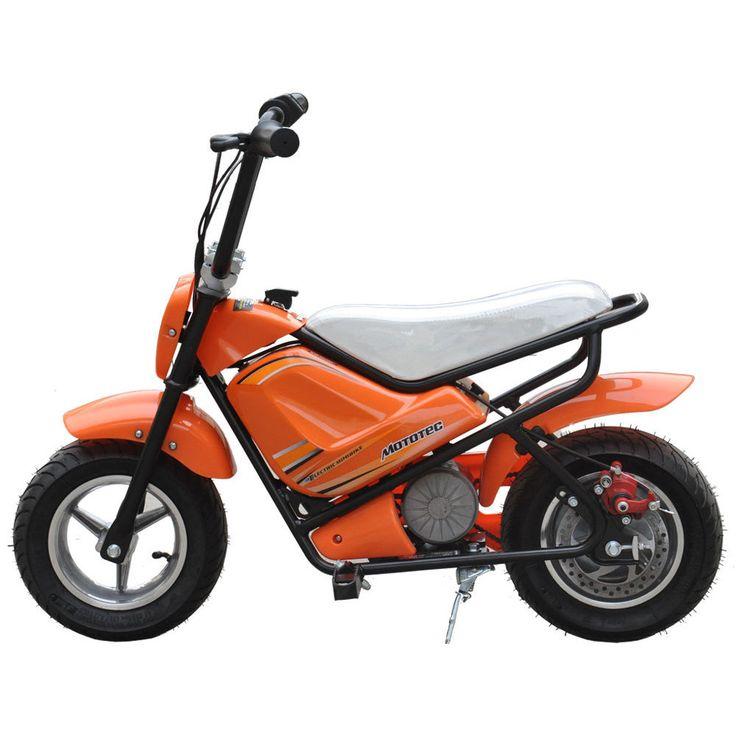 mototec 24v electric orange mini bike by mototec