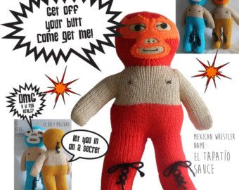Adorable Knitted Luchador Doll • Lucha Libre Cute Doll • Only One available of each color