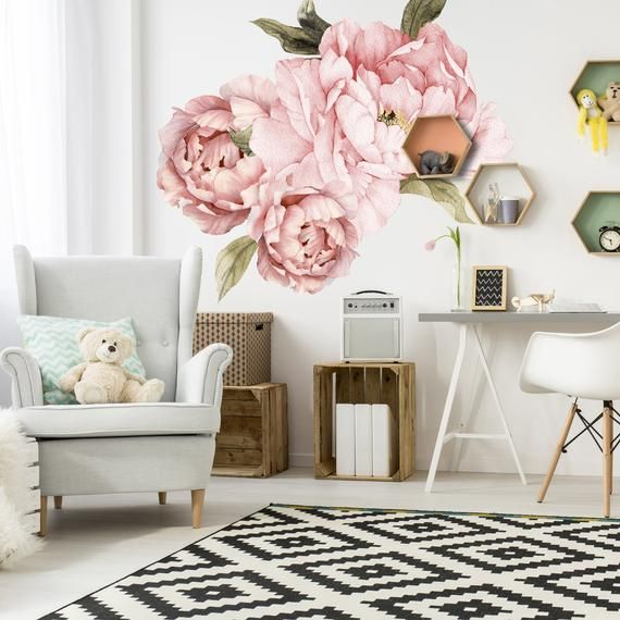 Flower Wall Decals Set Of 3 Pink Peonies And Leaves Removable