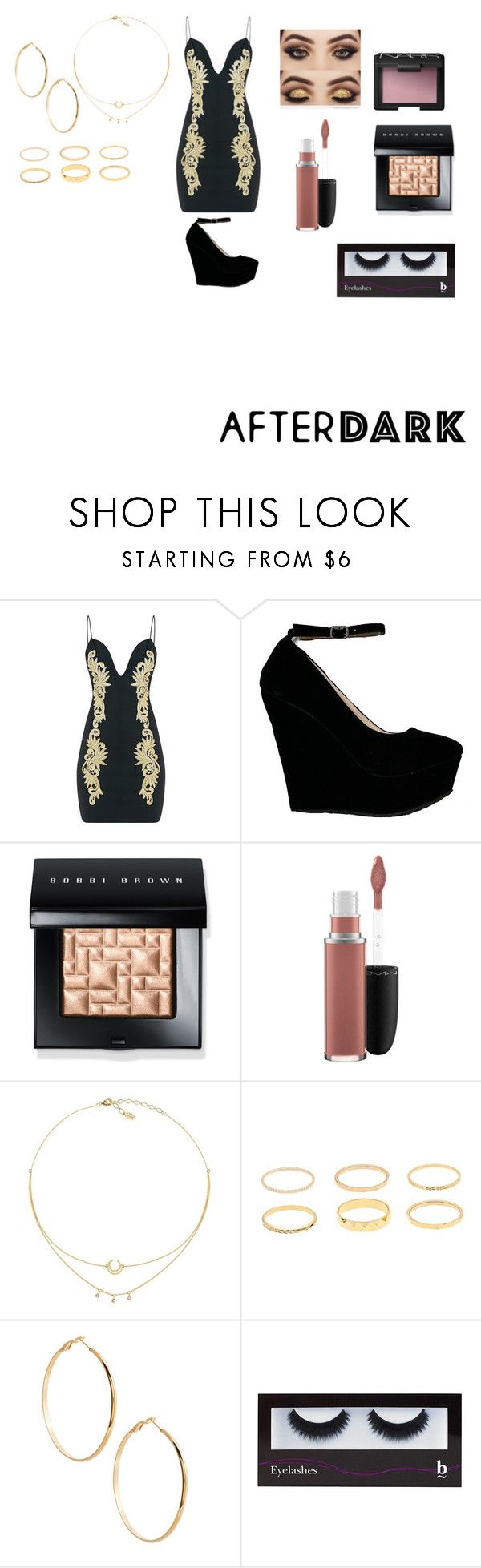 """""""Night out with friends"""" by anilityanime ❤ liked on Polyvore featuring Bobbi Brown Cosmetics, MAC Cosmetics, GUESS by Marciano, BBrowBar and NARS Cosmetics"""
