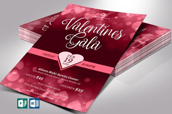 Valentines Gala Flyer Word Publisher In 2021 Publisher Templates Flyer Valentines
