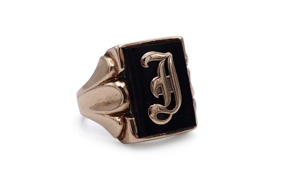 Vintage 10k Gold Onyx Initial Ring Letter J 1940s Signet Size 6 75 Gold Signet Ring Antique Rings Signet Ring