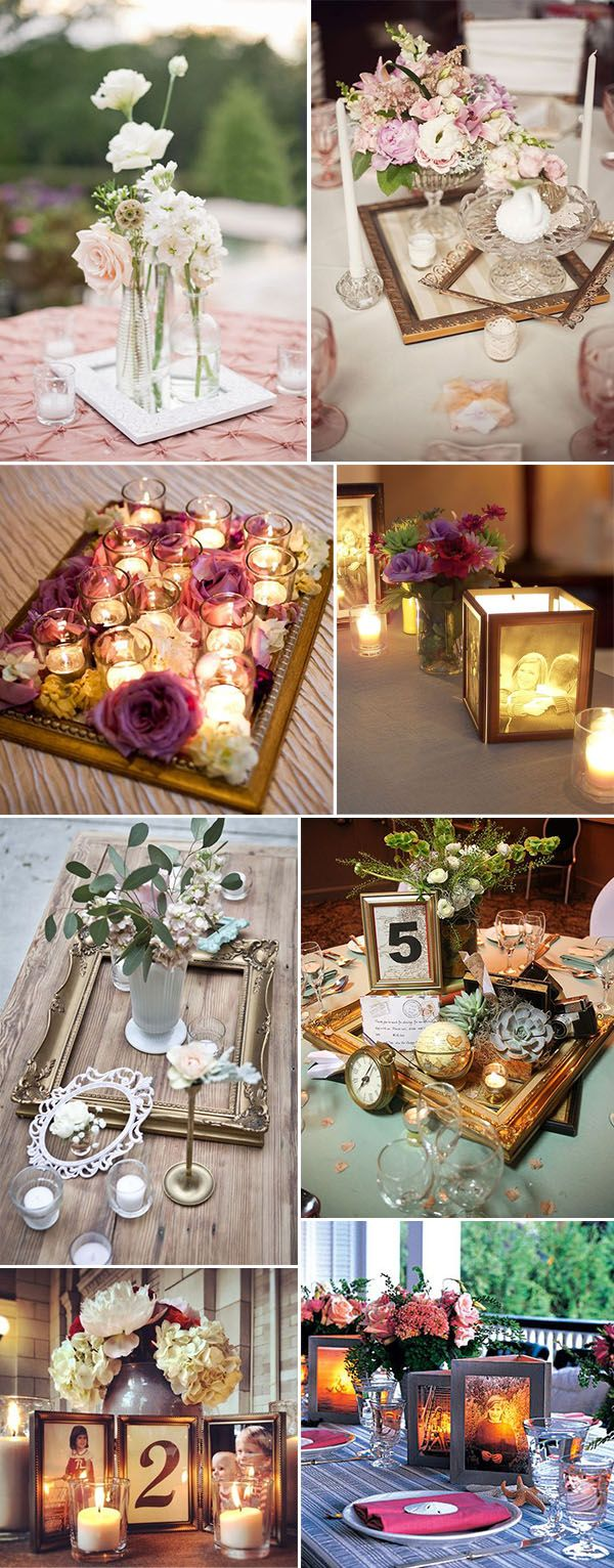creative vintage wedding centerpieces with photo frames
