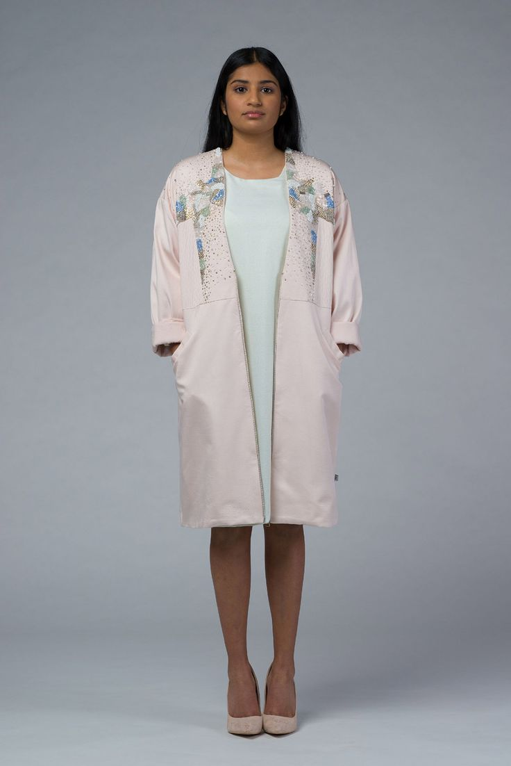 Womens Hand Embroidered Bobmer Pink Coat with Deep V-neck - Imaima