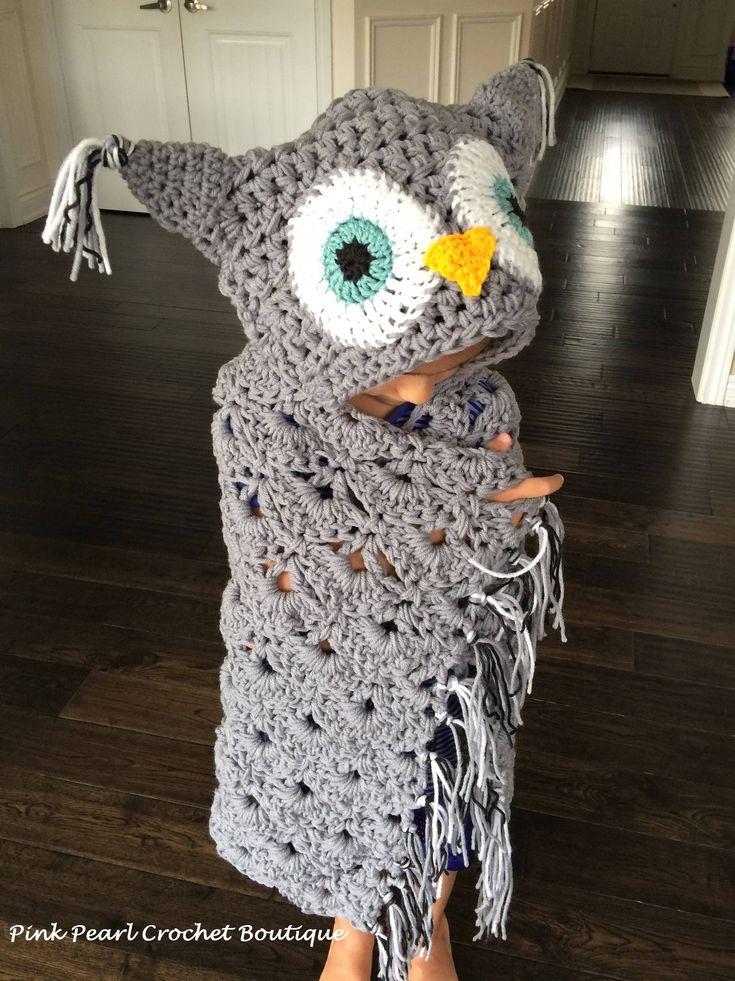 Hooded owl blanket by PinkPearlCrochetCA on Etsy