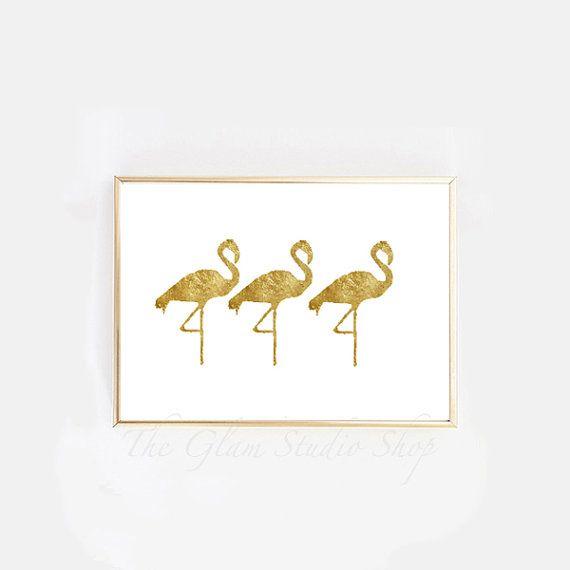 Gold animal print gold foil flamingos printable by TheGlamStudio