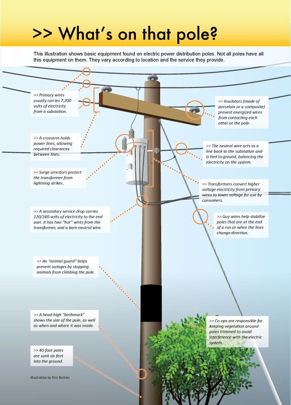 The parts of an electric pole. Electric Power Poles in