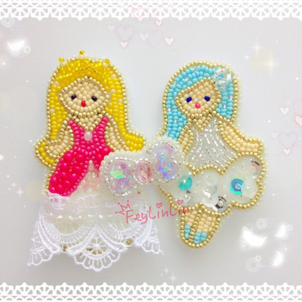 #Embroidery #beads #Kawaii #cute #brooch #princess #lace #pink #брошь #вышивка #бисер #принцесса #кружево #ビーズ刺繍
