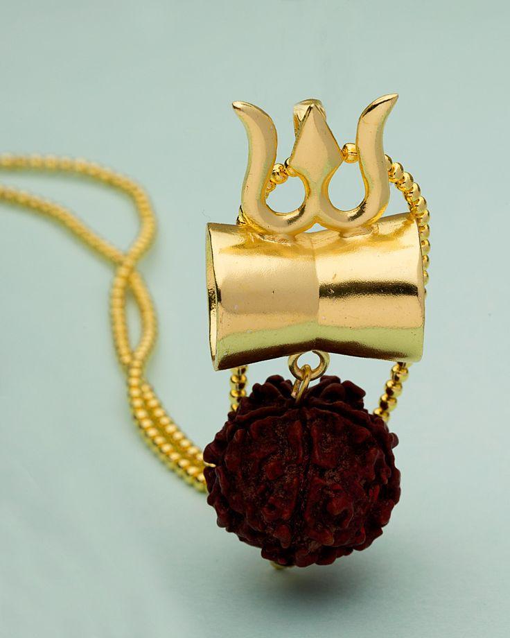 Gold Tone Pendant Studded With Rudraksha