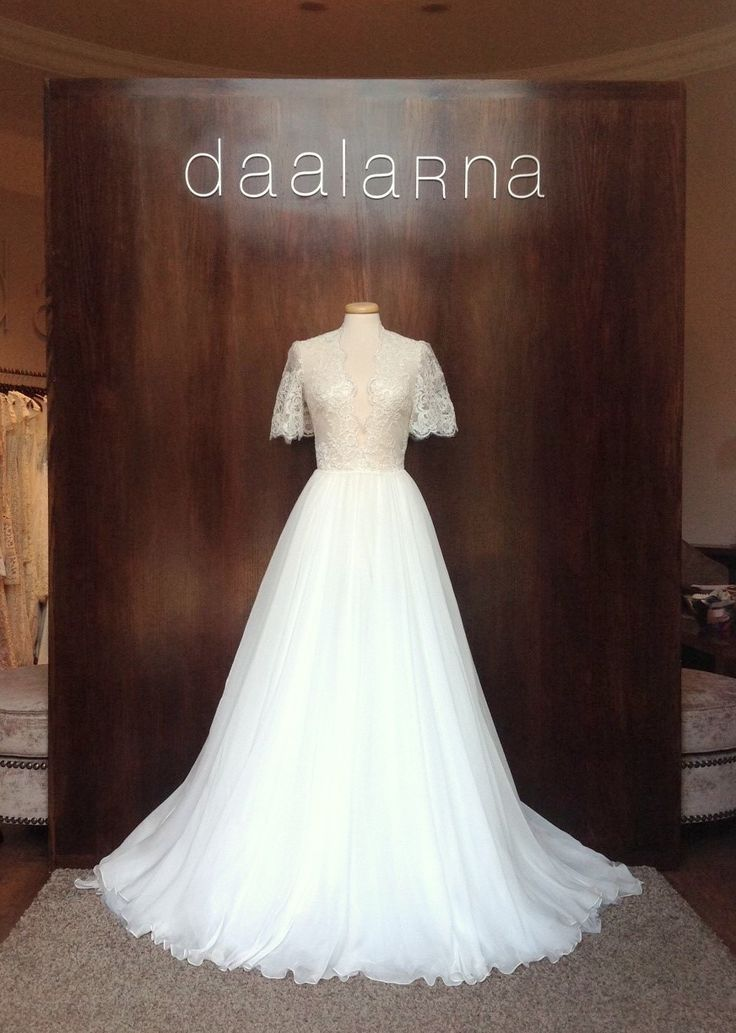 January 2015 - When fine French lace and soft tulle meet in a wedding dress  #daalarnacouture