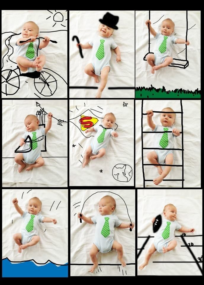 DIY awesome baby photo - just lay your baby on a sheet and paint on the photo in any paint program on your computer.