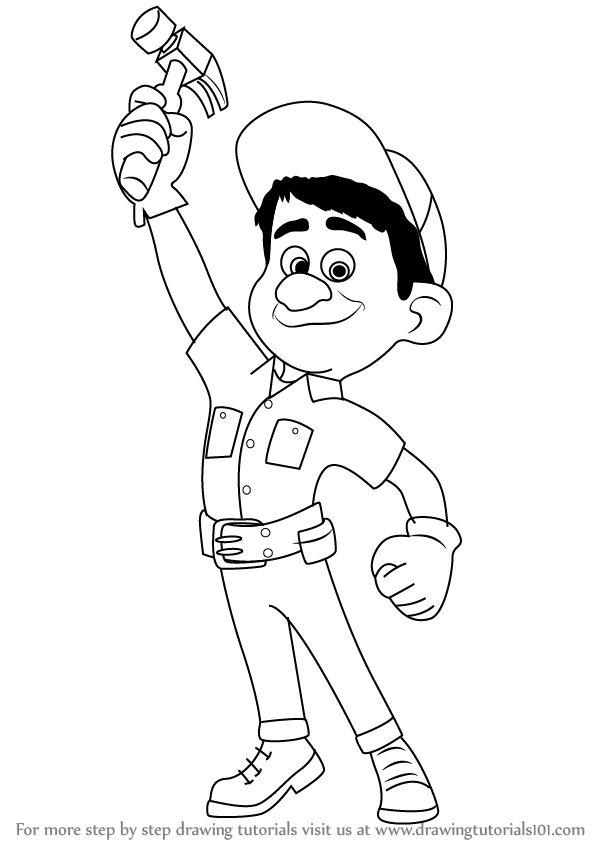 How to Draw Fix-It Felix, Jr from Wreck-It Ralph - DrawingTutorials101.com