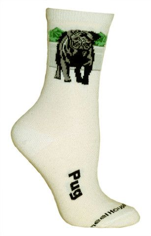 Off white socks black pug,Adult Medium (shoe size 6 to 8 1/2)