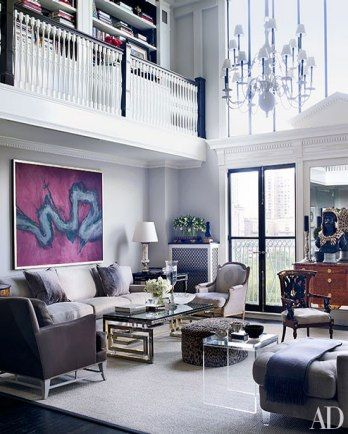 The eclectic living room of Blaine Trump