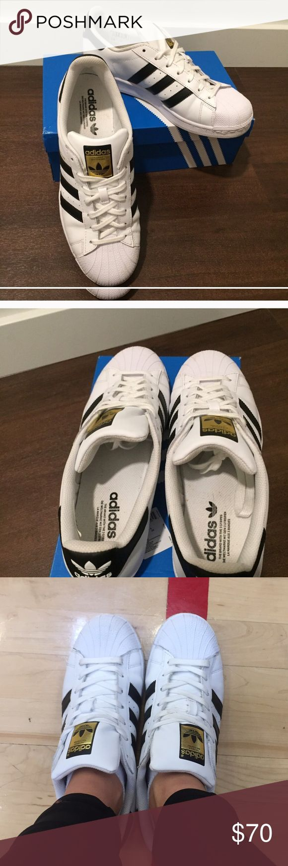 """Adidas """"shell toe"""" Superstars MENS size 8 1/2 (women's size 10) adidas superstar shell toes. Great, nearly new condition. Worn 2 times. Adidas Shoes Sneakers"""