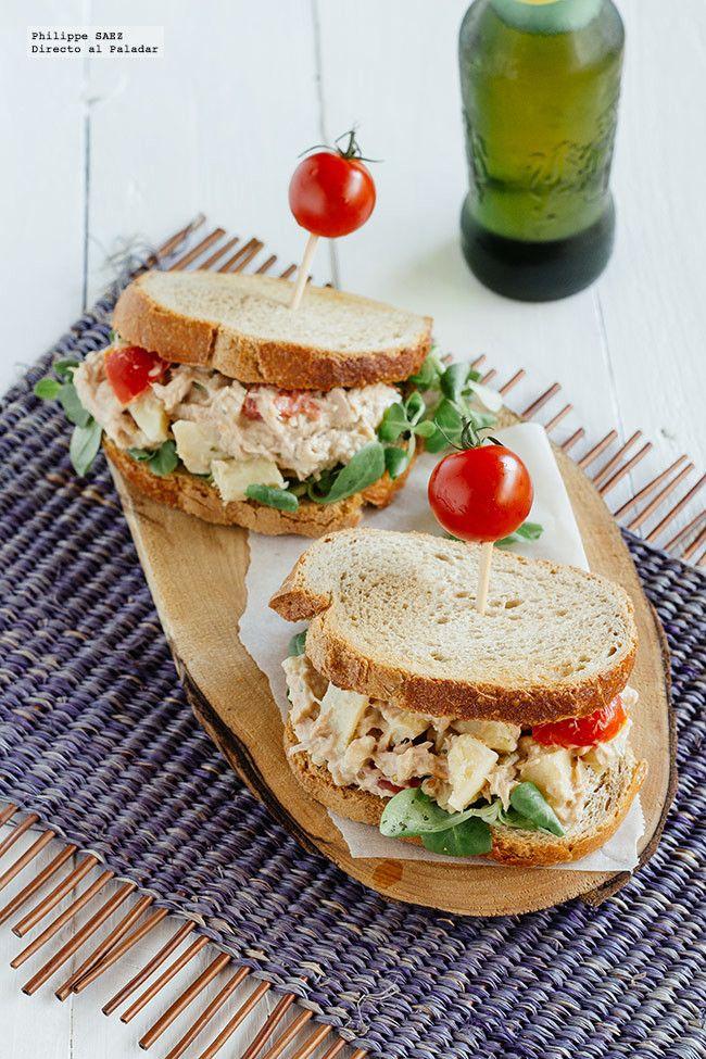 Sándwich de atún y alcachofas. Receta
