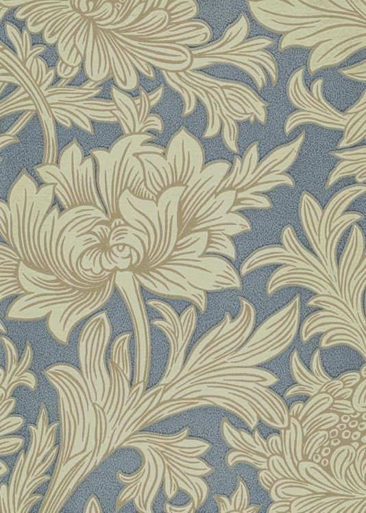 Chrysanthemum Toile Wallpaper Floral printed wallpaper in blue and cream with outlining in silver, the design is taken from a rare William Morris wallpaper