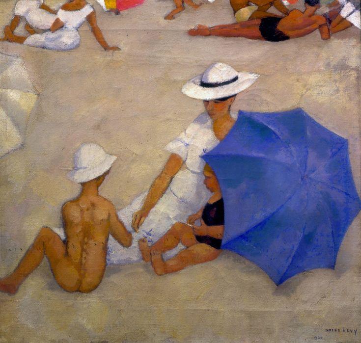 """Moses Levy (Tunisi 1885 – Viareggio 1968), """"Madre e bambini sulla spiaggia"""", 1920.   olio su tela, cm 47×51, collezione privata   Tag Archivi: Fondazione Matteucci per l'Arte Moderna"""