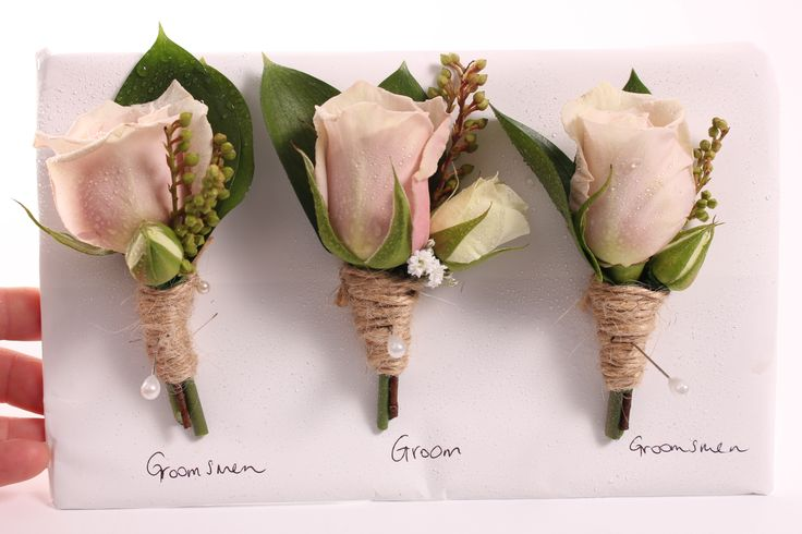 Dusky rose buttonhole with twine - Rustic wedding flowers made by Amy's Flowers