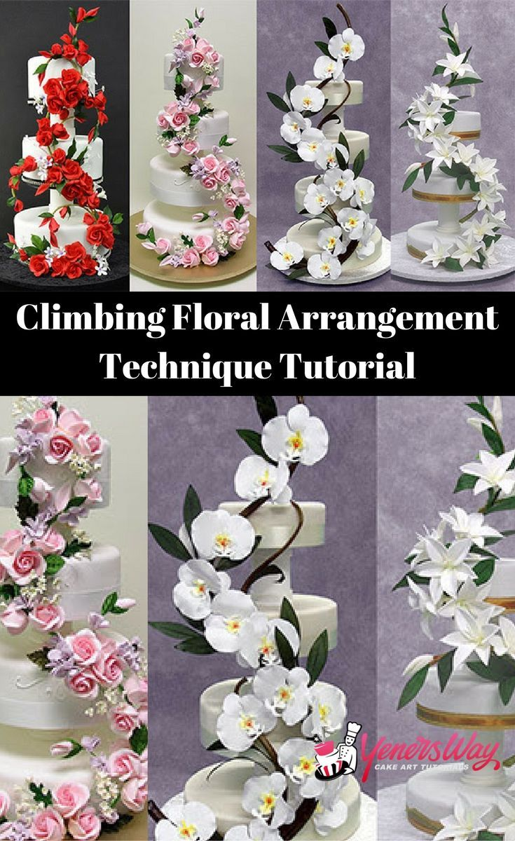 How to arrange flowers on a cake. This are just unbelievable. I love this tutorial including how he made the flowers, #sugar #flower #tutorial #howto #orchids #roses #gumpaste