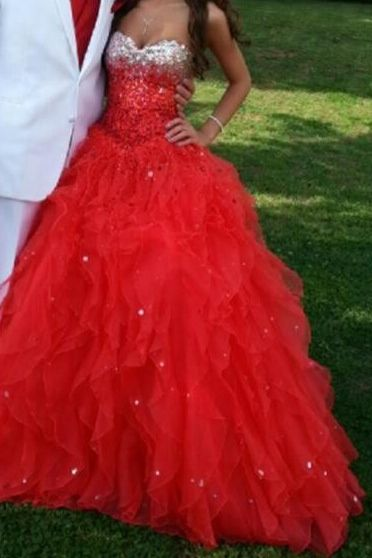 Red sparkly poofy dress