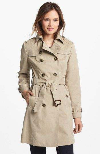 London Fog Quilted Flap Double Breasted Trench Coat Regular Petite Online Only Nordstrom