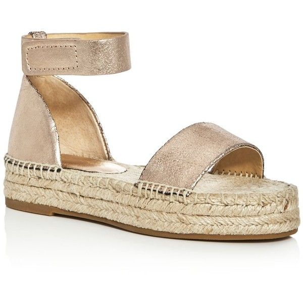 Splendid Jensen Metallic Ankle Strap Espadrille Sandals (6,430 MKD) ❤ liked on Polyvore featuring shoes, sandals, rose gold, ankle tie espadrilles, metallic shoes, ankle wrap shoes, espadrille sandals and ankle tie shoes