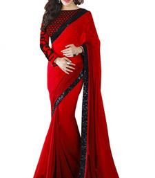 Buy Red georgette saree With Black Sequence Less georgette-saree online
