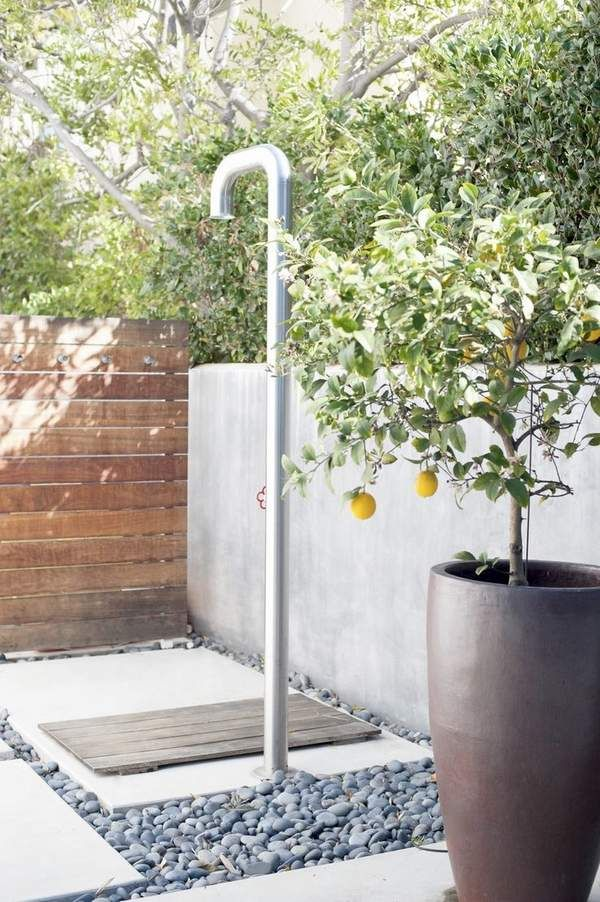 modern outdoor shower enclosure ideas privacy walls stainless steel shower
