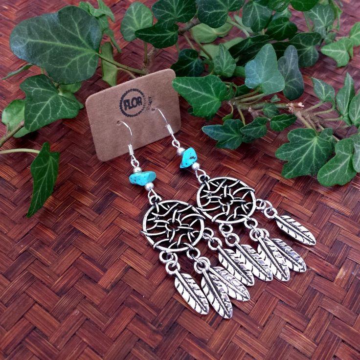 Turquoise dreamcatcher dromenvanger oorbellen | Made By Flor Accessoires