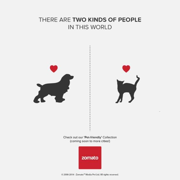 two kinds of people in this world - ad by Zomato - cats or dogs