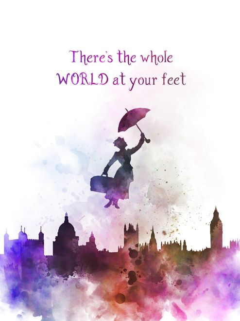 Gift ART PRINT Mary Poppins Quote illustration Home Decor Wall Art Disney
