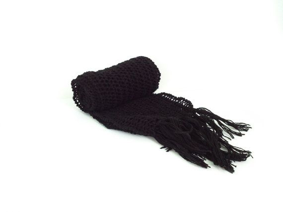 Hand knit black long scarf   Knit scarf Long scarf by GuruMIme