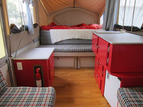 love how this red & plaid go together!  Just shows you shouldn't be nervous to paint those ugly brown cupboards!